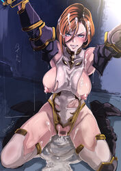 after_sex armor blue_eyes blush boots breasts brown_hair cum cum_in_pussy cum_in_pussy cum_inside cum_pool eroquis female kneeling large_breasts leotard nipples pubic_hair short_hair sitting thighhighs torn_clothes
