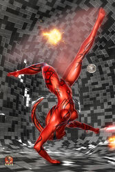 5_toes action_pose alien barefoot big_breasts breasts darth_talon darthhell female fingernails flexible gymnastics hairless handstand holding holding_weapon humanoid humanoid_feet lightsaber long_legs looking_at_viewer markings nipples nude plantigrade pose pussy red_body red_skin shiny sith sith_lord solo spread_legs spreading star_wars sword tattoo thick_thighs toes twi'lek weapon