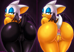 2014 anthro anus ass bat big_butt blue_eyes camel_toe clitoris clothing edit female hair looking_at_viewer looking_back mammal nude presenting presenting_anus presenting_hindquarters presenting_pussy pussy rear_view rouge_the_bat rubber smile solo sonic_(series) text therealshadman tight_clothing