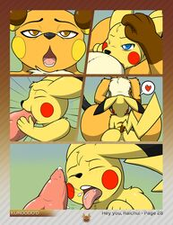 anus ass balls blue_eyes blush brown_eyes chubby closed_eyes comic cum cum_in_mouth cum_inside duo fellatio feral feral_on_feral heart hi_res kneeling knot kuroodod larger_male male male/male nintendo one_eye_closed open_mouth oral penis perineum pikachu pokemon raichu sex size_difference tongue tongue_out video_games wide_hips