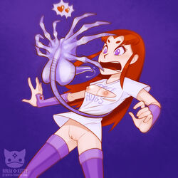 alien arthropod breasts clothed clothing duo facehugger female hair insects love ninjakitty open_mouth purple_eyes pussy red_hair screaming starfire surprise teen_titans