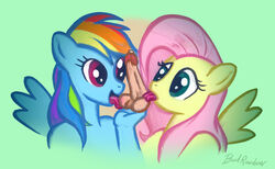 anthro anthrofied balls equine female fluttershy_(mlp) friendship_is_magic hair humanoid licking mammal multicolored_hair my_little_pony penis rainbow_dash_(mlp) rainbow_hair tongue tongue_out