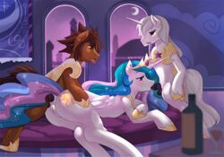 2015 alcohol alicorn anal anal_sex animal_genitalia animated armor ass balls beverage bottle brown_hair closed_eyes crescent_moon cutie_mark equine fan_character female feral freedomthai friendship_is_magic group group_sex hair half-closed_eyes horn horse horsecock inside long_hair male male/female mammal moon multicolored_hair my_little_pony oral penetration penis pony princess_celestia_(mlp) pussy sex snowlik3 spitroast threesome unicorn wine wine_glass wings