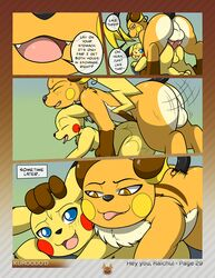 all_fours anal anal_sex balls blue_eyes brown_eyes comic dialogue digitigrade doggy_style duo english_text feral feral_on_feral from_behind hi_res kuroodod larger_male male male/male nintendo one_eye_closed open_mouth penetration pikachu pokemon raichu sex size_difference smaller_male smile text tongue tongue_out video_games