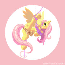 anatomically_correct anatomically_correct_pussy animal_genitalia anus ass bondage bound chaosrruruus crotchboob cutie_mark drooling equine equine_pussy eyelashes female feral fluttershy_(mlp) friendship_is_magic fur gag hair half-closed_eyes long_hair looking_at_viewer mammal my_little_pony pegasus pink_hair pussy pussy_juice rope saliva solo suspension teal_eyes teats wings yellow_fur