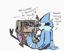 ! anal anal_sex anthro avian balls bird blue_feathers blue_jay brown_fur cartoon_network cum drooling duo fur handjob male male/male mammal mordecai penetration penis pretend raccoon regular_show rigby saliva sitting smile television