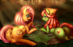 2015 animal_genitalia anus ass blush cutie_mark dreadlocks duo earth_pony equine equine_pussy eye_contact female feral fluttershy_(mlp) friendship_is_magic grass hair half-closed_eyes hooves horse long_hair lying mammal mingamia my_little_pony open_mouth outside pegasus pink_hair pony puffy_anus pussy smile tree_hugger_(mlp) wings