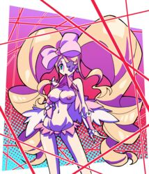 blonde_hair blue_eyes bow breasts dress_lift drill_hair earrings eyepatch female hairbow hallowgazer harime_nui highres kill_la_kill life_fiber long_hair looking_at_viewer micro_skirt mouth_hold narrow_waist pink_bow pink_dress skirt solo twin_drills twintails very_long_hair wrist_cuffs