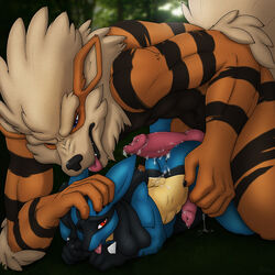 2015 anthro anthrofied arcanine blue_eyes cum cum_in_ass cum_inside cum_on_penis erection hi_res knot lucario male male/male nintendo penis pokemon red_eyes sex size_difference tongue tongue_out video_games x03