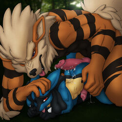 2015 anthro anthrofied arcanine cum_in_penis cum_is_ass erection frottage lucario male male/male nintendo penis pokemon sex size_difference video_games x03