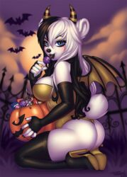 anthro ass bear black_tongue candy clothing elbow_gloves female gloves halloween high_heels holidays horn kneeling legwear licking lollipop looking_at_viewer mammal pinup polar_bear pollo-chan pose pumpkin rubber shayde solo thigh_highs tongue tongue_out wings