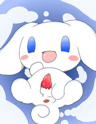 anus beady_eyes blue_eyes blush canine canine cinnamon cinnamoroll feral fluffy_fluffy_cinnamoroll fur long_ears looking_at_viewer male mammal penis presenting sanrio smile solo spread_legs spreading tongue