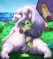 anal anus ass balls barefoot disembodied_hand feet flowers goodra hairy happy_sex mantine messy pearly_penile_papules penis pokemon pokephilia pussy shaymin slime soles tail testicles toes tongue_out water witchofavalon x-ray zorua