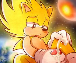 2015 absurd_res anthro cum erection fur hair hedgehog hi_res male mammal masturbation nude open_mouth orgasm penis solo sonic_(series) sonic_the_hedgehog space spice5400 star super_sonic video_games