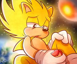 2015 absurd_res anthro erection fur hair hedgehog hi_res male mammal masturbation nude open_mouth penis solo sonic_(series) sonic_the_hedgehog space spice5400 star super_sonic video_games
