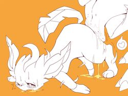ambiguous_gender blush canine claws drooling duo eeveelution feral fur heart leafeon licking mammal nintendo open_mouth orange_background paws plain_background pokemon saliva teeth tongue tongue_out video_games winte