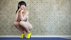3d asian aspect3dx black_hair brown_eyes dickgirl futanari high_heels intersex painted_nails partially_clothed penis pink_nails semi-erect shoes smile solo
