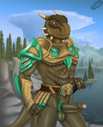 abs archshen argonian armor blue_eyes cock_ring erection landscape male penis scalie solo sword the_elder_scrolls tree uncut video_games weapon
