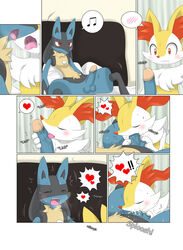 balls bed blush braixen canine cum cum_in_mouth cum_inside drooling fox incest lucario male male/male mammal nintendo oral penis pillow pokemon red_eyes saliva sitting uncut video_games winick-lim