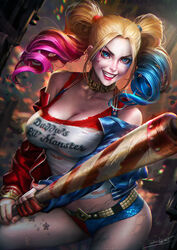 baseball_bat bat batman_(series) belt blonde_hair blue_eyes choker cleavage dc dc_comics earrings facepaint female grin harley_quinn jacket large_breasts neoartcore pantyhose shorts smile solo suicide_squad sweat tank_top tattoo torn_clothes twintails