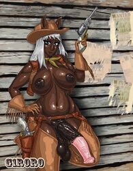animal_ears belt blue_eyes boots breasts cowboy_boots cowboy_hat cowgirl dark_skin dickgirl futa_solo futanari g1r0r0 gloves gun hand_on_hip hat horsecock large_breasts large_penis long_hair navel nipples penis revolver semi-erect standing testicles weapon white_hair