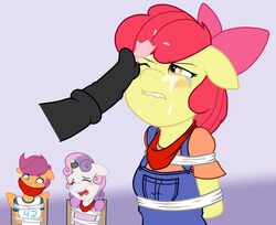 animal_genitalia anthro anthrofied apple_bloom_(mlp) arms_behind_back being_watched big_macintosh_(mlp) biting_lip black_penis blue_background blush bondage bondage bound brother_and_sister closed_eyes clothed clothing cracatua cum cum_in_hair cum_on_face cumshot disembodied_penis equine erection female forced friendship_is_magic fur hair horn horse horsecock incest male male/female mammal my_little_pony one_eye_closed open_mouth orange_fur orgasm penis plain_background pony purple_hair rape red_hair scootaloo_(mlp) sibling solo_focus sweetie_belle_(mlp) teeth tongue two_tone_hair white_fur wings yellow_fur
