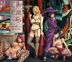 1boy 3girls after_sex ahe_gao black_hair blonde_hair bra breasts cigarette condom condom_packet_strip cum cum_in_mouth cum_in_pussy cum_on_breasts cumdrip fellatio female fishnet_legwear fishnet_pantyhose fishnets forehead_jewel fucked_silly garter_belt garter_straps graffiti hand_on_head harem high_heels human hyuuga_hinata large_breasts long_hair male menu multiple_girls naruto nipples open_mouth oral panties pimp pimp_coat pimp_hat prostitution red_hair sex smoking squatting stockings straight tongue tongue_out tsunade uchiha_sasuke uzumaki_kushina