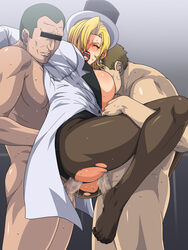 2boys blonde_hair censored charlemagne_(monsuno) double_penetration female group_sex gureko_rouman lipstick monsuno multiple_boys pantyhose sex