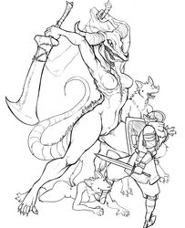 anthro anthrofied armor bite breasts canine capra_demon claws dark_souls female group guoh horn knight larger_female male mammal monochrome nude plain_background pussy rule_63 shield size_difference skull smaller_male sword voluptuous weapon white_background wide_hips wolf