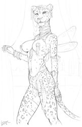breasts choker circlet dagger ear_piercing feline female jewelry leopard looking_at_viewer mammal monochrome nipple_piercing nipples nude open_mouth piercing pussy ring sketch smile solo standing thumb_ring trogan weapon wings