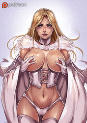 areolae blonde_hair blue_eyes breasts cape corset emma_frost female fur_trim kachima large_breasts long_hair looking_at_viewer marvel navel nipples panties solo thigh_gap thighhighs white_gloves white_panties x-men