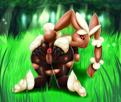animal_ears anus ass ass_grab back breasts female female forest furry grass huge_ass legs looking_back lopunny mega_lopunny mega_pokemon nintendo nipples no_humans pokemon pussy red_eyes uncensored
