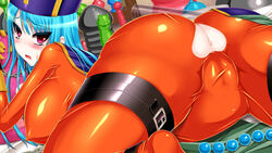 anus ass ass_cutout blue_hair blush breasts cameltoe censored dildo dragon_quest dragon_quest_iii female from_behind gloves hat heart_cutout highres huge_breasts latex latex_suit legs long_hair looking_back lying mosaic_censoring on_stomach open_mouth pink_eyes priest_(dq3) skin_tight solo spread_legs thighs torn_clothes trubka