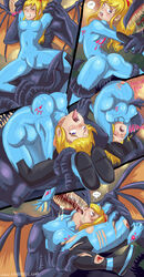 ass blonde_hair blue_eyes breasts comic english_text erect_nipples gore nipples panels samus_aran shadman text tongue_out video_games