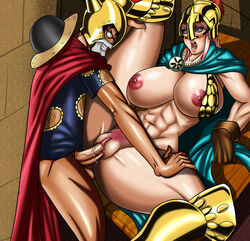 1boy armor bare_shoulders braid breasts dungeon female gladiator hat helmet large_breasts long_hair monkey_d_luffy multi-tied_hair nipples nude one_piece penetration penis pink_hair pubic_hair rebecca_(one_piece) sex single_braid spread_legs straight tears uncensored vaginal_penetration