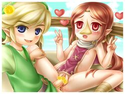 1boy 1girl 2015 anus blonde_hair blue_eyes blush breasts censored clitoris cloud double_v drooling erect_nipples erection female flat_chest heart invalid_tag link long_hair looking_at_viewer male medli nintendo nipples open_mouth penetration penis pointy_ears ponytail porocha pussy pussy_juice red_eyes red_hair rito saliva sex sky smile spread_legs spreading straight sweat tears the_legend_of_zelda vaginal_penetration video_games wind_waker young