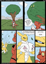anthro balls big_balls big_breasts big_penis breasts canine cloud comic digimon female fox guilmon huge_breasts hyper hyper_breasts imminent_rape lactating male male/female mammal muscles muscular_female outside penis pussy pussy_juice red_skin redoxx renamon scalie sweat victoria_viper yellow_skin