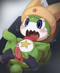 amphibian animal_genitalia anthro blush censored crying dagasi digital_media_(artwork) disembodied_hand duo erection featureless_legs forced frog gaping genital_slit headgear keroro keroro_gunsou lying male on_back open_mouth penis precum saliva saliva_string shin_keroro slit solo_focus spread_legs spreading tamama tapering_penis tears