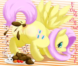 angel_(mlp) anus blush carrot cutie_mark english_text equine feces fluttershy_(mlp) friendship_is_magic japanese_text mammal my_little_pony pegasus plate pussy scat text tomato unknown_artist wings