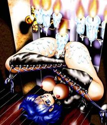 angry blue_hair blush bondage bound breasts candle candle_wax crossed_legs defeated display embarrassed exposed_breasts female female_only forced_nudity helpless humiliation insertion light_skin nipples penalty_game pet pet_play predicament_bondage public_use pussy rape restrained rope slave spread_legs suspended suspension tied_up top-down_bottom-up trapped upside-down vaginal_penetration