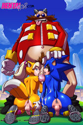 2015 anal anal_sex anus ass balls bottomless buttplug clothed clothing cosplay cum dr._eggman erection girly half-dressed hentaitrap human licking male male/male mammal oral penetration penis penis_lick sex sex_toy sonic_(series) sonic_the_hedgehog tails tekuho tongue tongue_out