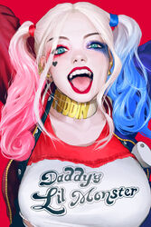 1girl absurdres batman_(series) blonde_hair blue_eyes blue_hair breasts choker clothes_writing dc dc_comics hair harley_quinn heart highres jester large_breasts lipstick long looking_at_viewer makeup margot_robbie open_mouth pink_hair rukiana smile solo suicide_squad tongue tongue_out twintails