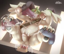 anal anal_sex animal_genitalia anthro bandolier chubby circumcised cum cum_from_mouth cum_in_ass cum_in_mouth cum_inside cum_splatter cum_string cumshot digimon digital_media_(artwork) disembodied_penis double_handjob dripping dual_handjob erection fellatio foot_fetish footjob gangbang gargomon group group_sex handjob high-angle_shot horsecock humanoid_penis leaking leaking_anus lying male male/male mammal messy moobs nipples on_back one_eye_closed oral oral_penetration orgasm overweight pawpads paws penetration penis sex signature solo_focus thick_thighs virus.exe