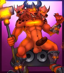 2015 3_heads anthro armor balls barazoku big_penis brown_fur canine cerberus erection fangs fur horn league_of_legends male mammal marlon_cores_(artist) multi_head muscles nasus nipples nude open_mouth paws pecs penis solo tongue tongue_out vein video_games