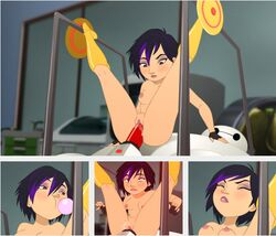 baymax big_hero_6 boots disney female fingerless_gloves gogo_tomago legs_up marvel nipples nude purple_hair pussy red_penis reverse_cowgirl_position sex short_hair tagme two-tone_hair vaginal_penetration zone