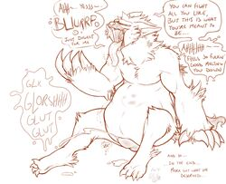 belly big_belly burping canine cownugget cum cumshot dialogue digestion drooling erection mammal monster orgasm penis saliva soft_vore stomach_bulge text tongue tongue_out vore were werewolf whitt