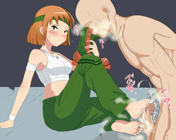 advance_wars barefoot blush boots bra clothes_sniffing cum cum_on_lower_body domino feet female footjob headband midriff military military_uniform pants penis phb red_hair shoes_removed short_hair sitting smell smelling sniffing soles sports_bra sweat toes uniform white_bra wristband
