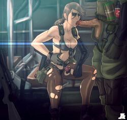 1boy bikini blue_eyes breasts brown_hair cleavage explosive facepaint fellatio female front-tie_bikini front-tie_top grenade gun highres holster jesus_avalos long_hair metal_gear_(series) metal_gear_solid metal_gear_solid_v mismatched_gloves open_fly oral pantyhose penis planted_weapon ponytail quiet_(metal_gear) rifle single_elbow_glove sitting sniper_rifle soldier straight suspenders swimsuit thigh_holster torn_clothes torn_pantyhose uncensored unzipped weapon