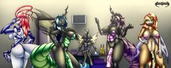 2015 absurd_res animal_genitalia anthro anthrofied areola arthropod ass balls big_breasts blush breasts changeling da_goddamn_batguy dickgirl erection fan_character friendship_is_magic group hair hand_on_breast hi_res horn horsecock huge_breasts huge_cock insects inside intersex long_hair male moth multi_limb my_little_pony nipples nude penis purple_hair queen_chrysalis_(mlp) sitting vein veiny_penis wings