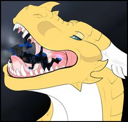 ambiguous_gender anthro blue_eyes diablito dragon duo equine feline fellatio feral fur horn horse hybrid kage6415 licking male mammal nude open_mouth oral oral_vore penis saliva scalie sex soft_vore stripes teeth tiger tongue tongue_out vore